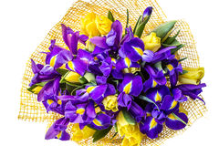 Bouquet of irises with tulips. top view Royalty Free Stock Image