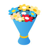Bouquet isometric 3d icon. Bouquet of flowers in a blue wrap on a white background Royalty Free Stock Photography
