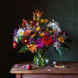 Bouquet. A large bouquet of summer flowers on the table Royalty Free Stock Photo