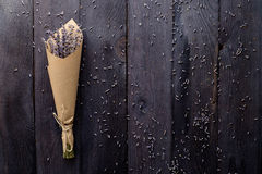 Bouquet of lavender. Bouquet of dried lavender on a wooden background Stock Images