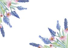 Bouquet of lavender and Echinacea flowers. Watercolor set of blue and pink flowers isolated on white background, beautiful design vector illustration
