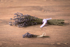 Bouquet of lavender flower on wooden background Stock Images