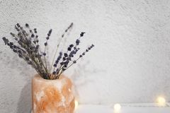 Bouquet of lavender flowers in orange pot. Bouquet of lavender flowers in orange pot stock image