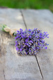 Bouquet of lavender. On the old table Royalty Free Stock Photo