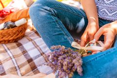 Bouquet of lavander. Bouquet of lavender in women`s hands. Picnic basket Royalty Free Stock Photography