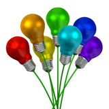 Bouquet of light bulbs of different colors on green wires Royalty Free Stock Photos