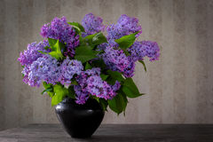 A bouquet of lilac in a black vase Stock Photo