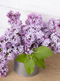 Bouquet of lilac flowers on white wooden background Royalty Free Stock Image