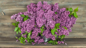 Bouquet of lilac flowers on wooden background. Retro style Royalty Free Stock Photos