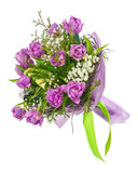 Bouquet of lilac tulips and other flowers. Stock Image