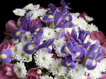Bouquet in lilac, white and red tones Royalty Free Stock Image