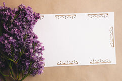 Bouquet of lilacs  with an inscription card Stock Photography