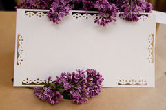 Bouquet of lilacs  with an inscription card Stock Images