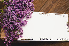 Bouquet of lilacs with an inscription card stock photos