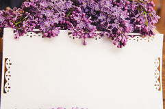 Bouquet of lilacs with an inscription card royalty free stock photos