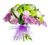 Bouquet of lilacs, roses and irises. Isolated over a white background Stock Photos
