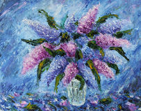 A bouquet of lilacs in a vase, still life, oil painting Royalty Free Stock Image