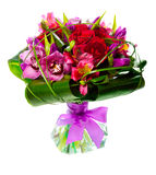 Bouquet of lilias and roses Stock Photo