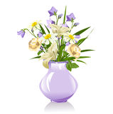 Bouquet of lilies, bluebells, daisies and roses Royalty Free Stock Image
