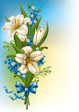Bouquet with lilies and forget-me Royalty Free Stock Photos