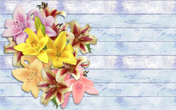 Bouquet of lilies on a grunge wooden background Stock Photos