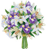 Bouquet of lilies and irises Stock Photos
