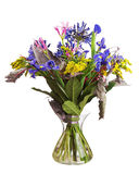 Bouquet from lilies and orchids isolated on white background. Royalty Free Stock Photos
