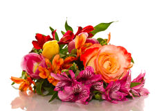 Bouquet of lilies and roses Royalty Free Stock Images