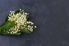 The bouquet of lilies of the valley lies on a table against a dark background, Copy space stock photography