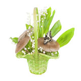 Bouquet of lilies of the valley, and mushrooms Royalty Free Stock Photos