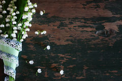 Bouquet of lilies of the valley and space text Stock Photos