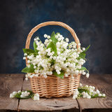 Bouquet of lilies of the valley on the table Stock Images
