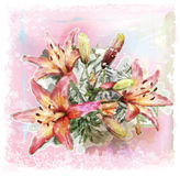 Bouquet of lilies. Watercolor illustration of bouquet of lilies Stock Image