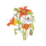 Bouquet of lilies and white flowers. Watercolor  lilies bouquet  on white background Royalty Free Stock Photos