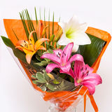 Bouquet lily. Isolated on white background Stock Images
