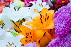 Bouquet of lily flowers. Beautiful bouquet of lily flowers Stock Photo
