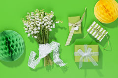 A bouquet of Lily of the Valey with decoration Stock Photos
