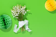 A bouquet of Lily of the Valey with decoration Royalty Free Stock Images