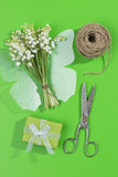 A bouquet of Lily of the Valey with decoration Stock Photo
