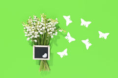 A bouquet of Lily of the Valey with decoration Stock Photography