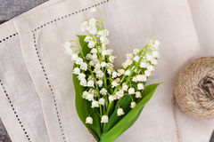 Bouquet of lily of the valley outdoor Royalty Free Stock Image