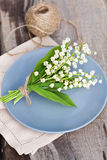 Bouquet of lily of the valley outdoor Stock Image