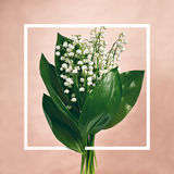 Bouquet Lily Of The Valley. Bouquet of Lily Of The Valley on Pastel Pink Background. Flat Lay. Top View Stock Photo
