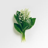 Bouquet Lily Of The Valley. Bouquet of Lily Of The Valley on White. Flat Lay. Top View Stock Photography