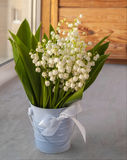 Bouquet of lily of the valley on the window Royalty Free Stock Image