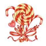 Bouquet of lollipops with a Christmas stick, Berries with a Bow. Isolated on white background. Handmade drawing. Bouquet of lollipops. Isolated on white Stock Photos