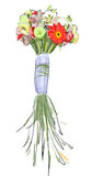 Bouquet with a long stems. Watercolor style. Illustration Royalty Free Stock Photos