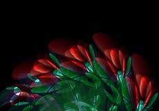Bouquet lumineux abstrait des fleurs et des feuilles rouges lumineuses de vert Photos libres de droits