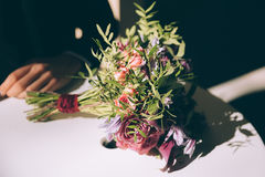 Bouquet lying on the table Royalty Free Stock Photo