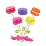 Bouquet of macaroon on sticks Vector illustration. Royalty Free Stock Photography